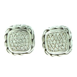 John Hardy Classic Chain Sterling Silver and 18k Yellow Gold 0.50 Ct Diamond Square Earrings