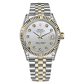 Rolex Datejust Stainless Steel/ 18K Gold White MOP Mother Of Pearl Dial Diamond 36mm Unisex Watch