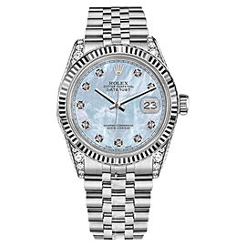 Rolex Datejust Stainless Steel Baby Blue MOP Mother Of Pearl Dial Diamond 36mm Unisex Watch
