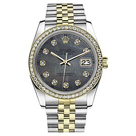 Rolex Datejust Stainless Steel/ 18K Gold Black MOP Mother Of Pearl w Diamonds 36mm Unisex Watch