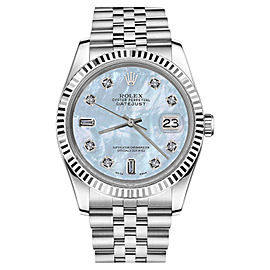 Rolex Datejust Baby Blue Mother Of Pearl 18K White Gold Stainless Steel 8+2 Diamonds 26mm Womens Watch