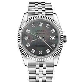 Rolex Datejust Stainless Steel w/ Black Mother Of Pearl Diamond Jubilee 26mm Womens Watch