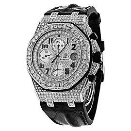 Audemars Piguet Royal Oak Offshore Chronograph Diamonds Dial Leather Strap 42mm Unisex Watch