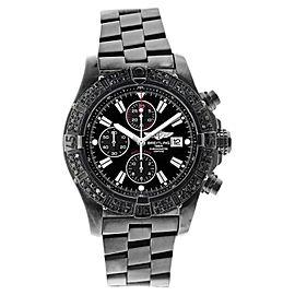 Breitling Super Avenger A13370 3.00TCW Black Dial Diamonds Bezel 48.4mm Mens Watch