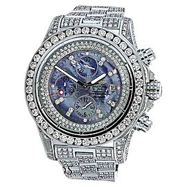 Breitling Super Avenger A13370 Stainless Steel Mother of Pearl Dial Diamond 48.4mm Mens Watch