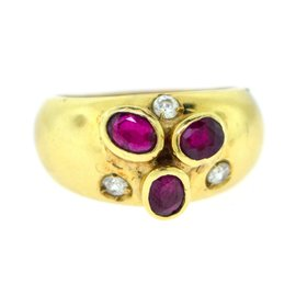 Monet Yellow Gold Ruby, Diamond Womens Ring Size 6.5