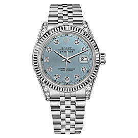 Rolex Datejust Stainless Steel Ice Blue Color Dial with Diamond RT 36mm Unisex Watch