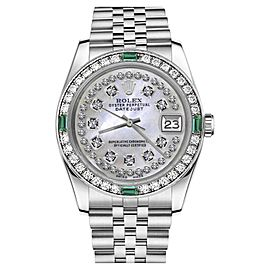 Rolex Datejust White Mother Of Pearl String Diamond Dial Emerald 31mm Womens Watch