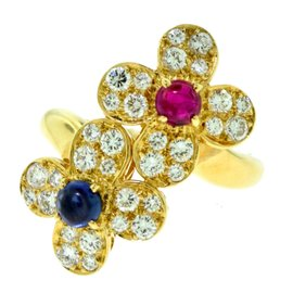 Van Cleef & Arpels Trefle 18K Yellow Gold 0.36 Ct Diamond, 0.25 Ct Ruby and 0.36 Ct Sapphire Flower Ring Size 5.5