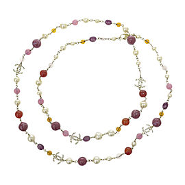 Chanel CC Gold Tone Metal Simulated Glass Pearl Color Stone Necklace