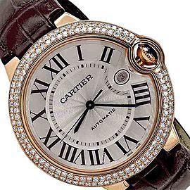 Cartier Ballon Bleu de W6900651 18K Rose Gold / Leather with Silver Dial 36mm Unisex Watch