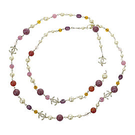 Chanel Gold Tone Metal Simulated Glass Pearl, Color Stone & Rhinestone Necklace