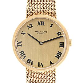 Patek Philippe Calatrava Yellow Gold Mesh Bracelet Mens Watch 3562