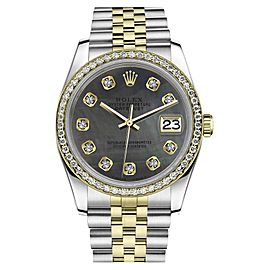 Rolex Datejust Stainless Steel & 18K Gold with Black Mother of Pearl Dial 31mm Womens Watch