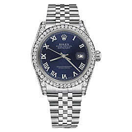 Rolex Datejust Stainless Steel/18K White Gold Navy Blue Roman Dial wDiamonds 31mm Unisex Watch