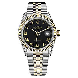 Rolex Datejust TwoTone 18K Yellow Gold/Stainless Steel Black Roman Numeral Dial w Diamonds 36mm Unisex Watch