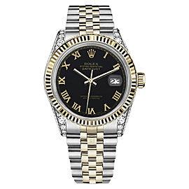 Rolex Datejust TwoTone 18K Yellow Gold/Stainless Steel Black Roman Numeral Dial w Diamonds 36mm Unisex Watch