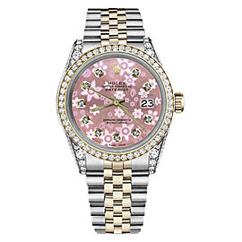 Rolex Datejust Stainless Steel & 18K Gold with Pink Flower Mother of Pearl Dial 31mm Unisex Watch