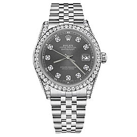 Rolex Datejust Stainless Steel with Dark Gray Diamonds Dial 36mm Unisex Watch