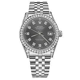 Rolex Datejust Stainless Steel with Dark Gray Diamonds Dial 36mm Unisex Watch