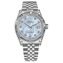 Rolex Datejust Stainless Steel with Baby Blue Mother of Pearl Dial 31mm Womens Watch