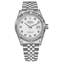Rolex Datejust Stainless Steel/18K White Gold White Dial wDiamonds 36mm Unisex Watch