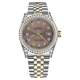 Rolex Datejust Stainless Steel/ 18K Gold Salmon Dial wDiamonds 36mm Unisex Watch