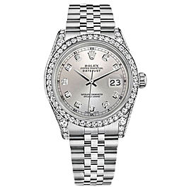 Rolex Datejust Stainless Steel/18K White Gold Silver Dial wDiamonds 36mm Unisex Watch
