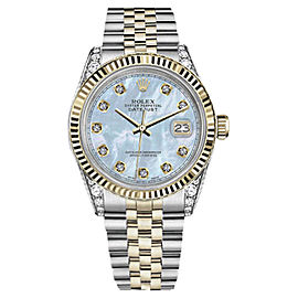 Rolex Datejust Stainless Steel/ 18K Gold Baby Blue Mother Of Pearl Dial wDiamonds 36mm Womens Watch