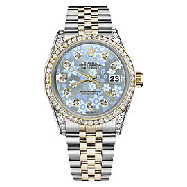 Rolex Datejust Stainless Steel/ 18K Gold Ice Blue Flower Dial wDiamonds 36mm Womens Watch