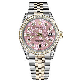 Rolex Datejust Stainless Steel & 18K Gold with Pink Flower Mother of Pearl Dial 31mm Womens Watch