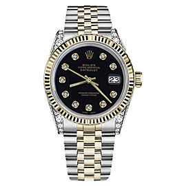 Rolex Datejust Two Tone Black Dial with Diamonds 26mm Womens Watch