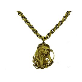 18K & 14K Yellow Gold Zodiac Leo Pendant and Chain Necklace