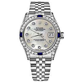 Rolex Datejust Stainless Steel With White Mother of Pearl Dial 31mm Womens Watch
