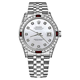 Rolex Datejust Stainless Steel White Mother of Pearl Dial wRuby & Diamond 36mm Womens Watch