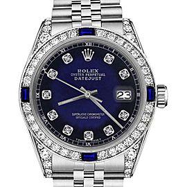 Rolex Datejust Blue Vignette Dial with Sapphire & Diamond Bezel Accent SP 26mm Unisex Watch