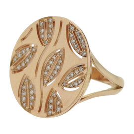 Bulgari Enigma 18K Rose Gold Diamond Leaf Motif Round Top Ring Size 8.5