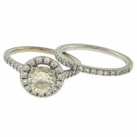 Scott Kay 14K White Gold Diamond Halo Engagement & Wedding Band Ring Set