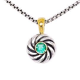 David Yurman NK1000-S8-AEM14 Sterling Silver Emerald Pendant