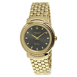 Rolex Cellini 6622 18K Yellow Gold with Black Dial Quartz 33mm Unisex Watch