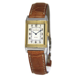 Jaeger LeCoultre Reverso 252.5.47 18K Yellow Gold & Stainless Steel & Leather Quartz 38.5mm Unisex Watch