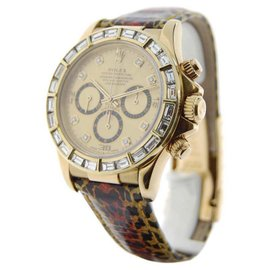 Rolex Daytona 16518 18K Yellow Gold & Leather wDiamonds Automatic 40mm Mens Watch