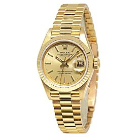 Rolex Datejust 69178 18K Yellow Gold with Champagne Stick Dial 26mm Womens Watch
