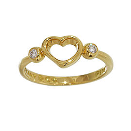 Tiffany & Co. Elsa Peretti 18K Yellow Gold with Diamond Open Heart Ring Size 5.5