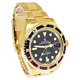 Rolex GMT-Master II 116718 18K Yellow Gold Diamond Ruby & Sapphire 40mm Automatic Mens Watch
