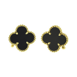 Van Cleef & Arpels Vintage Alhambra 18K Yellow Gold with Black Onyx Earrings