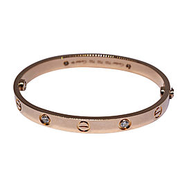 Cartier Love 18K Rose Gold & Diamond Bracelet Size 16