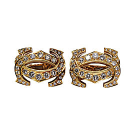 Cartier Double C 18K Yellow Gold & 2.40ct Diamond Earrings