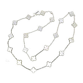 Van Cleef & Arpels Vintage Alhambra 18K White Gold with Mother of Pearl 20 Motif Necklace