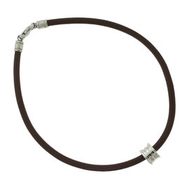 Bulgari B. Zero 1 18K White Gold Round Ring with Brown Leather Chain Choker Necklace
